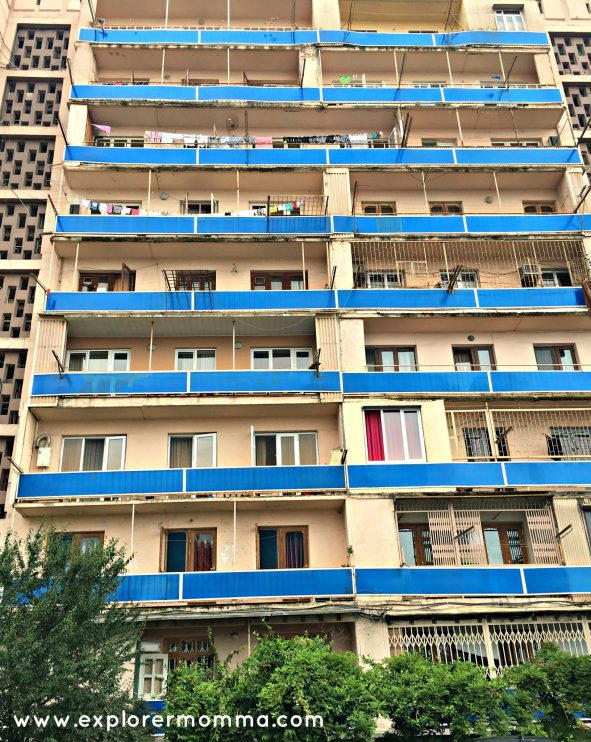 Batumi blue apartment building