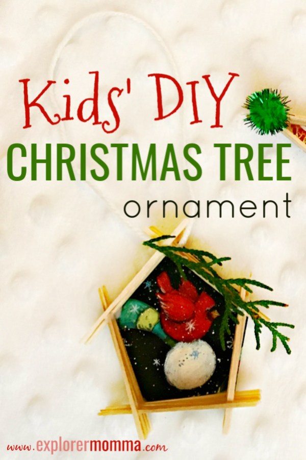 Kids' DIY Christmas Tree Ornament. Need an easy and fun Christmas craft for school or scouts? Recycling Christmas cards has never been funner! #diychristmasornament #christmascrafts