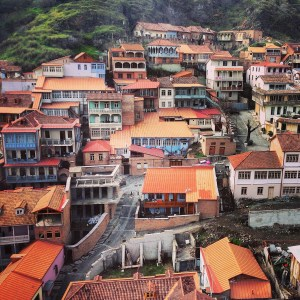 The orange colored roofs of Old Town Tbilisi
