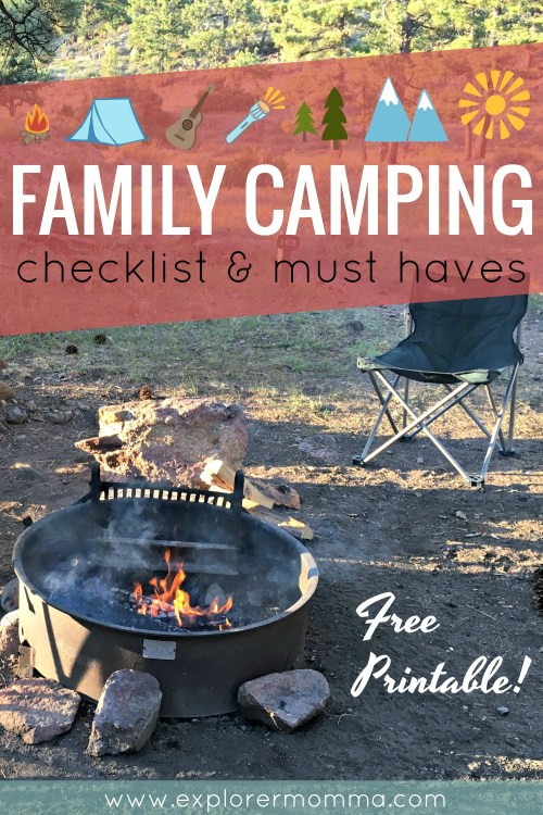 Family camping checklist, campfire pin