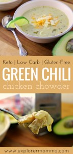 Green chili chicken chowder is the best low carb keto soup for cold days! #ketosoup #lowcarbrecipes