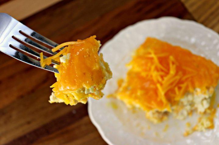 Cauliflower mac and cheese bake, bite close-up