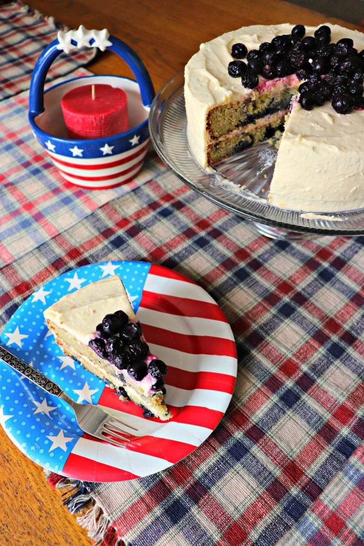 Low Carb Lemon Blueberry Cream Cake piece