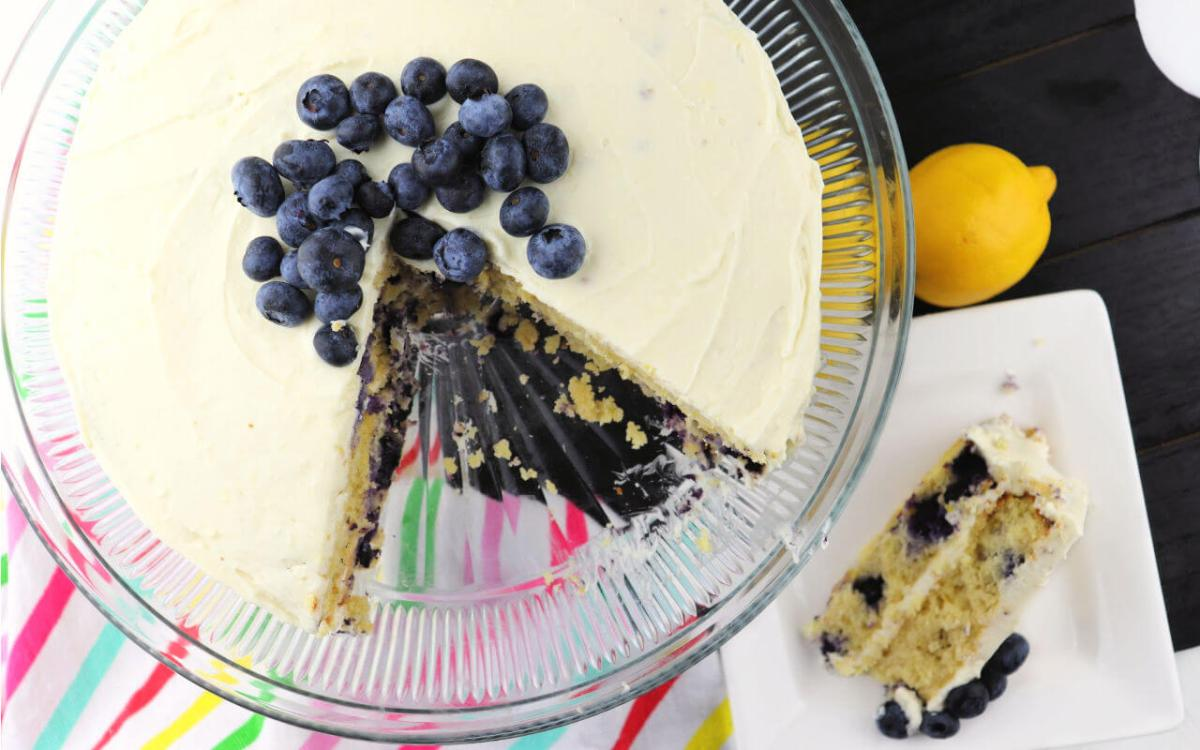 Low Carb Lemon Blueberry Cream Cake