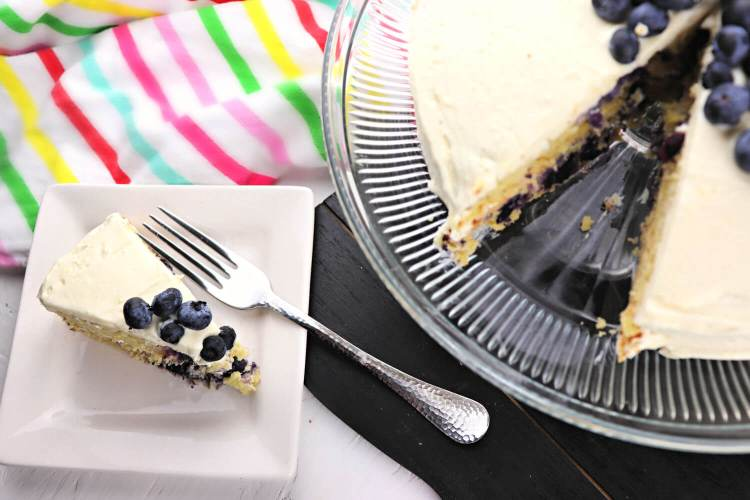 Try a piece of delicious Low carb lemon blueberry cream cake for a keto diet or gluten-free dessert. #ketocake #lowcarbrecipes