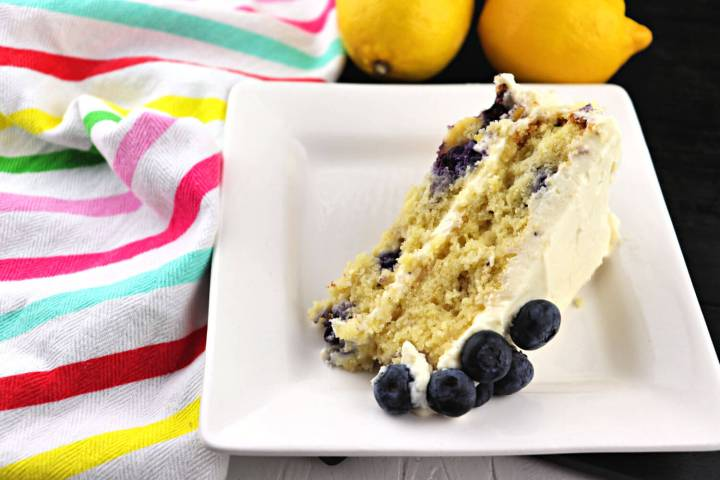 Piece of low carb lemon blueberry cream cake #ketodesserts #lowcarbrecipes