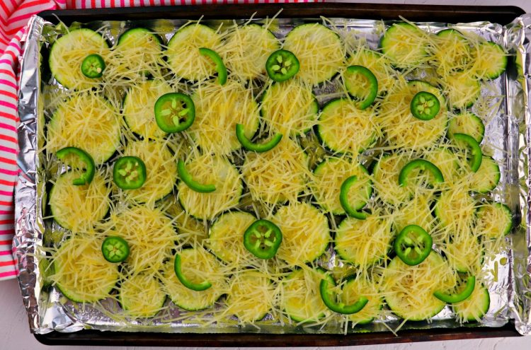 Pan of easy low carb grilled garlic parmesan zucchini to bake
