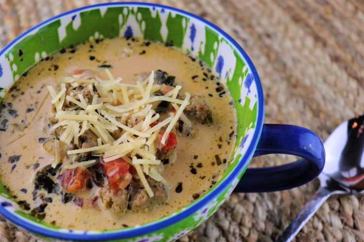 The perfect low carb dinner. Creamy keto Italian sausage soup is easy and comforting. #lowcarbsoup #souprecipes