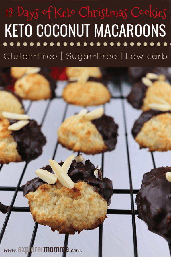 Traditional flavors of coconut, almond, and chocolate make these low carb treats a hit at our house. Keto Coconut Macaroons are delicious and at the same time sugar-free, gluten-free. #ketodesserts #ketocookies #ketorecipes