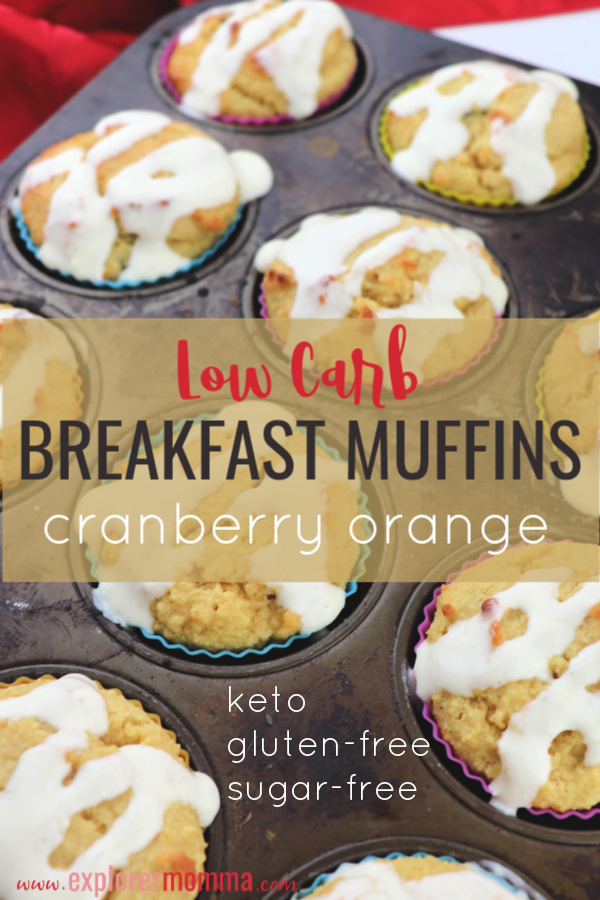Need a quick and easy low carb breakfast? Cranberry orange low carb breakfast muffins are perfect for grab and go or to linger over with your coffee. #lowcarbmuffins #ketomuffins