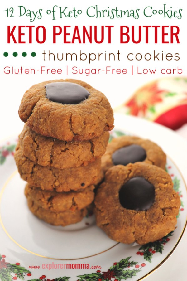 Thumbprint Keto Peanut Butter Cookies are a delicious Christmas cookie recipe, a low carb, gluten-free, sugar-free option to help you stay on the keto diet. #ketocookies #lowcarbchristmas
