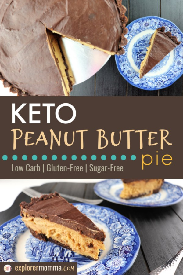 Keto peanut butter pie is the BEST low carb dessert ever! A rich, giant peanut butter cup sure to be a birthday party, dinner party, or other special occasion favorite! It's a chocolate peanut butter masterpiece. #ketodesserts #lowcarbdesserts