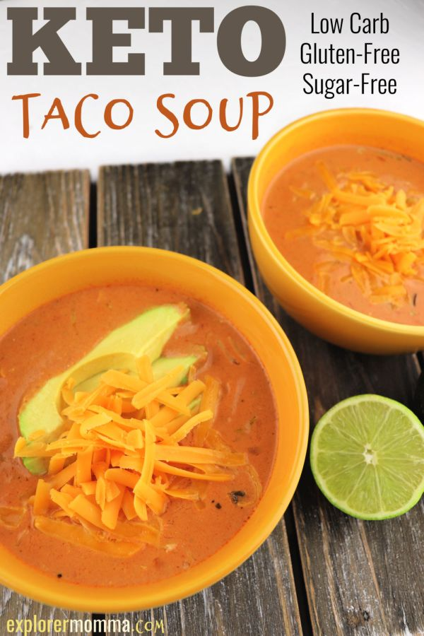 Keto taco soup. An easy and delicious low carb, gluten-free recipe, perfect for family weeknights. #lowcarbdinner #ketosoups