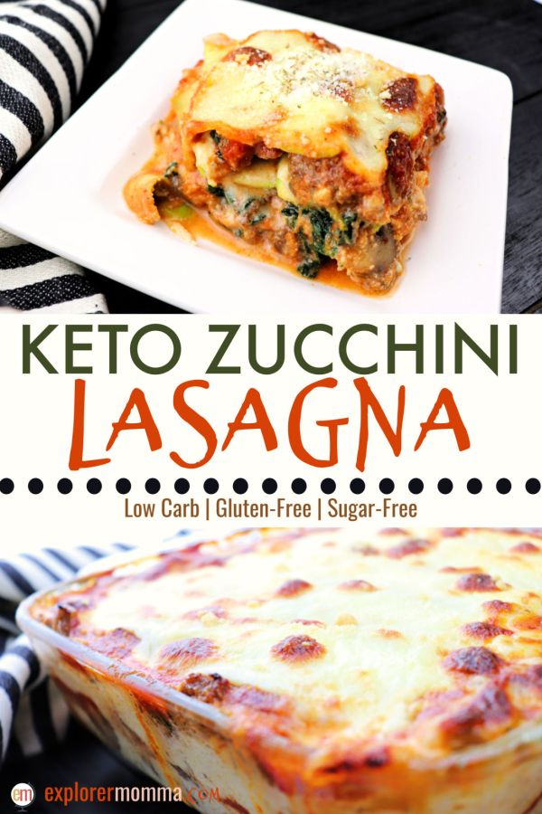 Gooey keto zucchini lasagna has the ultimate comforting flavor in a guilt-free low carb goodness. Gluten-free and delicious with Italian sausage, spinach and mushrooms. #zucchinilasagna #ketodinners