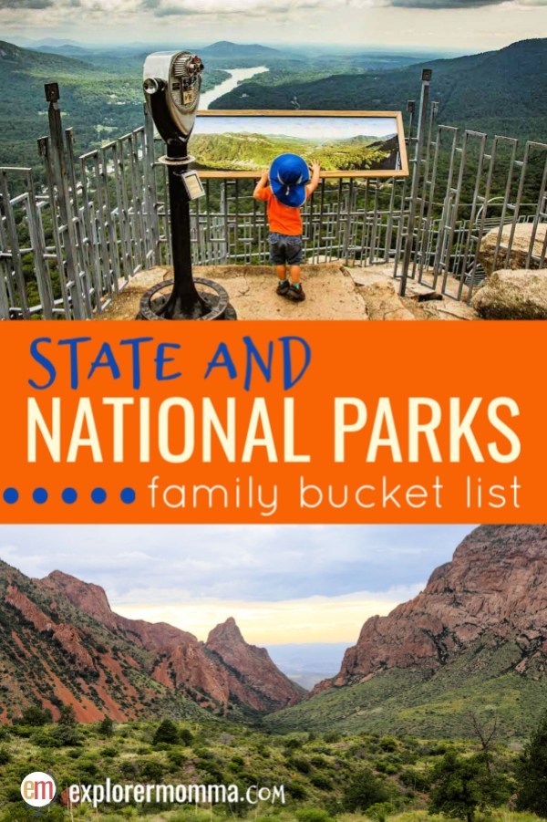 State and National Parks Family Bucket List, the Great Smoky Mountains to Big Bend National Park in Texas. Family adventures perfect for your next park destination! #familytravel #familyadventuretravel