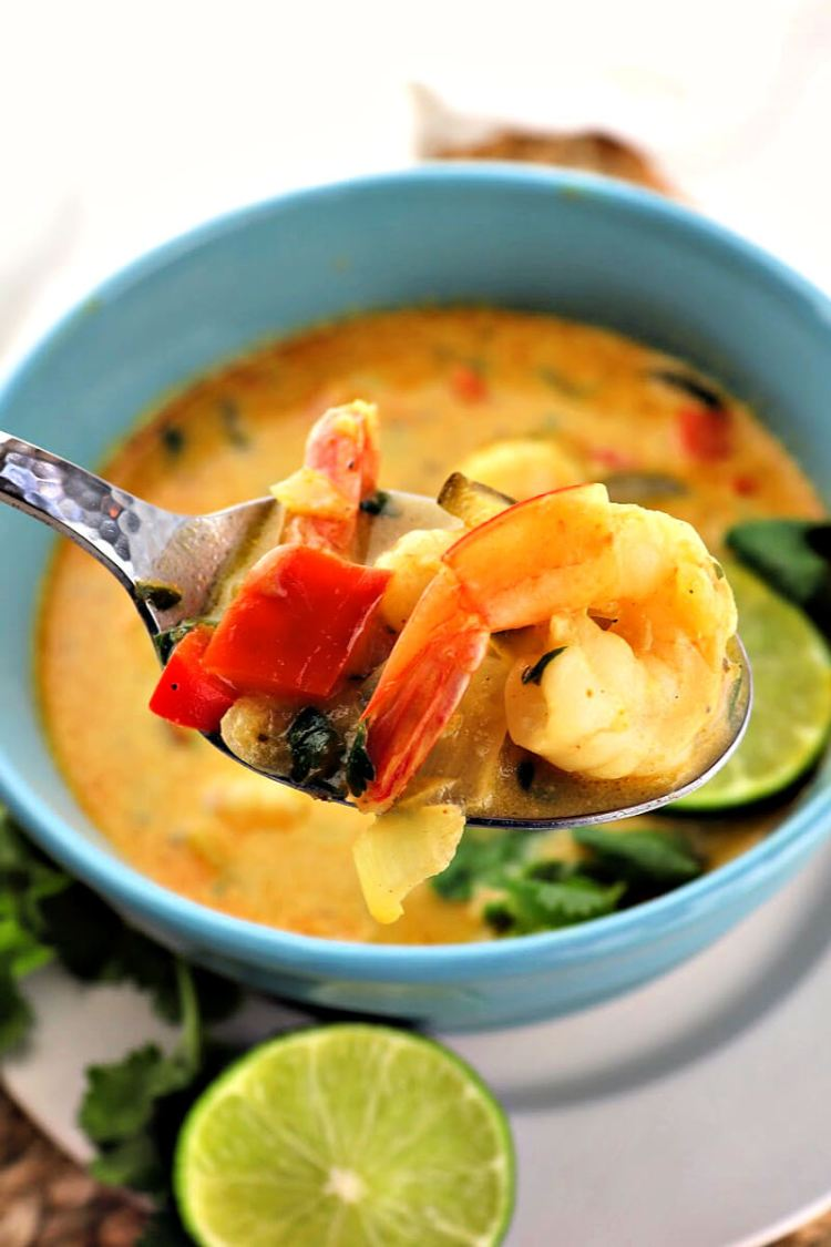 A bite of low carb Thai soup with shrimp. #ketodinner #lowcarbsoup