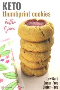Delicious, easy butter and jam keto thumbprint cookies are the perfect low carb snack! Super kid-friendly and perfect for Easter, Christmas, Fourth of July, you name it! Gluten-free cookies with a strawberry tang. #ketorecipes #lowcarbcookies
