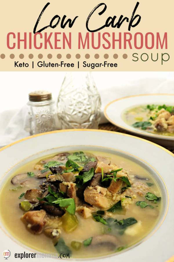 Low carb chicken mushroom soup is the ultimate healthy winter comfort food. A gluten-free and keto twist on a classic chicken soup recipe. Delicious! #chickensoup #lowcarbsoup