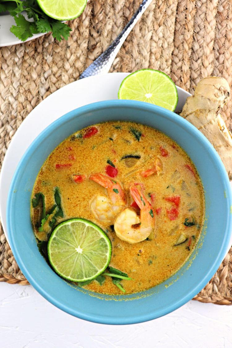 Keto Thai coconut soup is art in color and flavor. The perfect blend of flavors in a delicious low carb meal. #ketosoup #lowcarbdinner