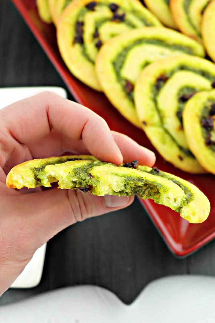Bite out of a keto pesto pinwheel #ketorecipes #lowcarbappetizer
