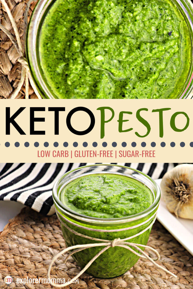Delicious and super simple keto pesto adds a punch of flavor to any low carb meal. Garlic, basil, and parmesan, you can't go wrong! Use up the garden basil and keep the family happy all year. #ketorecipes #lowcarbsauce