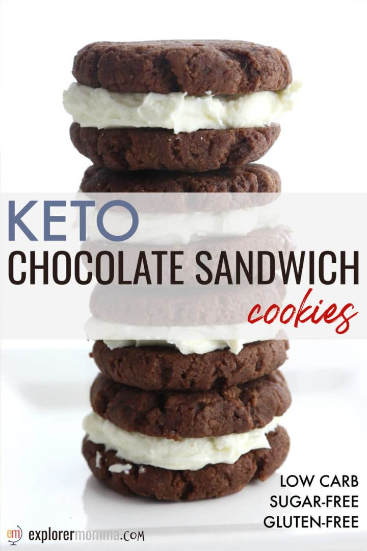 Low carb Keto Chocolate Sandwich Cookies are a fabulous soft copycat keto oreo, satisfy cravings yet are sugar-free and gluten-free. #ketodesserts #ketocookies #ketorecipes