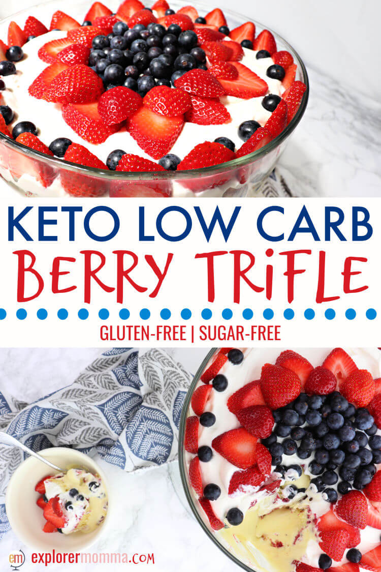 Keto berry trifle is the ideal low carb dessert centerpiece for Memorial Day, the Fourth of July, or any summer party. Gluten-free, sugar-free creamy deliciousness will have friends asking for more. #ketodessert #lowcarbdessert #ketorecipes