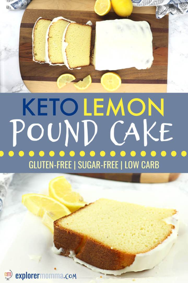 Delicious lemon keto pound cake recipe. It's fabulous for a gluten-free tea time, to replace your favorite coffee shop snack, or sugar-free breakfast. Did I mention it's also packed with 9 grams of protein? #ketobreakfast #ketorecipes #lowcarbrecipesketo