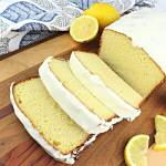 Perfect summer coffee shop Keto lemon pound cake. Tangy, gluten-free, sugar-free and delicious for breakfast or dessert. #ketodessert #ketobreakfast