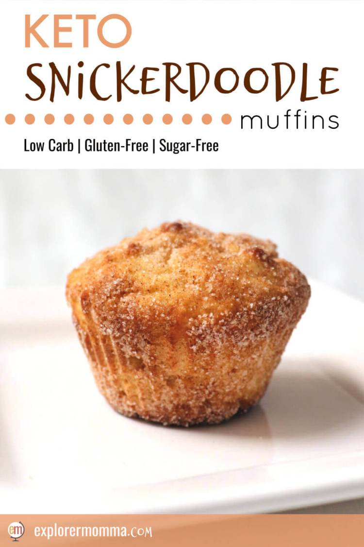 Cinnamon spice in a low carb breakfast. What gluten-free treat could be better? Keto snickerdoodle muffins are soft and delicious and perfect for a low carb diet. #ketomuffins #lowcarbrecipes