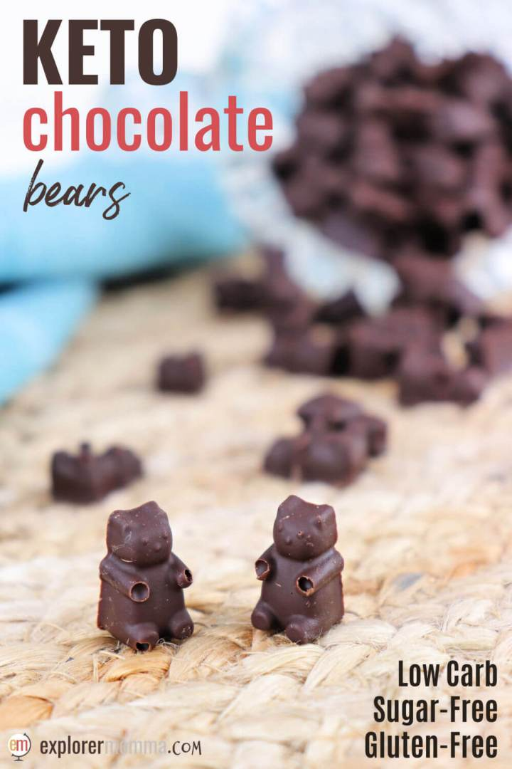 Sugar-free easy 3-ingredient keto chocolate is heaven in a bite when a chocolate craving hits on a low carb diet. Gluten-free and delicious, these can be made in any mold or as bars. #ketochocolate #sugarfreechocolate #lowcarbchocolate #ketodessert