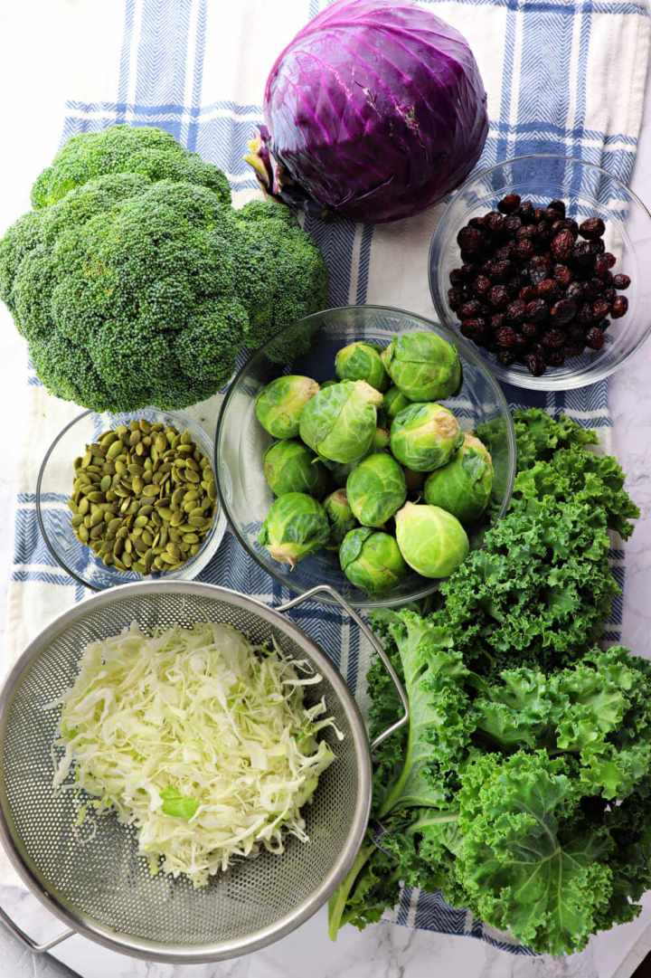 Ingredients for kale crunch salad #ketosalad #kalesalad