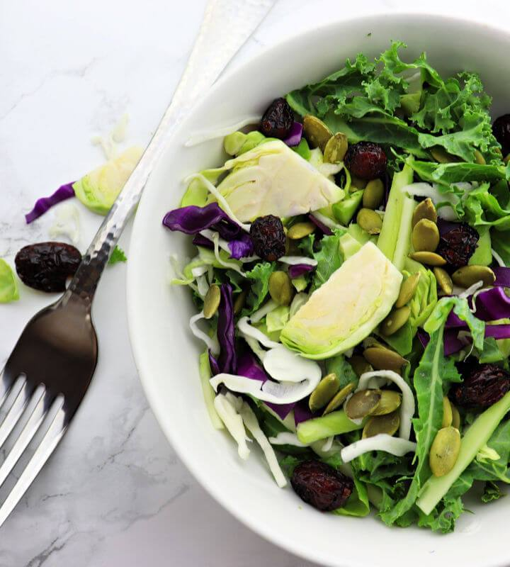 Keto crunch salad is the perfect holiday low carb side. Great with a keto salad dressing, sugar-free, with super healthy greens. #ketosalad #kalesalad