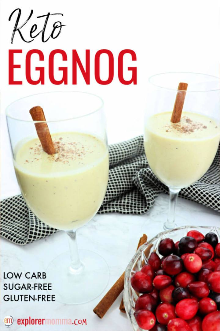 Holiday keto eggnog is the perfect festive sugar-free drink for your Christmas or New Year's party. Delicious low carb liquid nutmeg custard goodness. #ketoeggnog #ketodrinks #ketochristmasrecipes