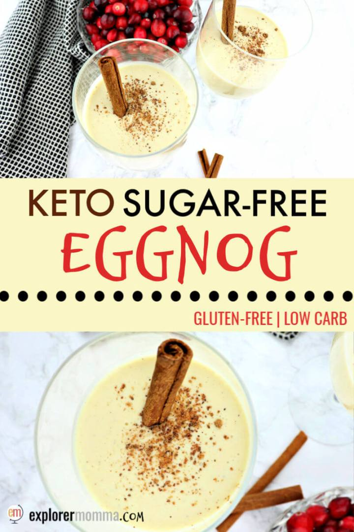 The best festive keto eggnog recipe is easy and creamy liquid nutmeg custard delish! At less than 1 net carb per serving, it's an eggnog fat bomb dream perfectly low carb for the Christmas or New Year's holiday party. #ketoeggnogrecipe #ketochristmas #ketorecipes