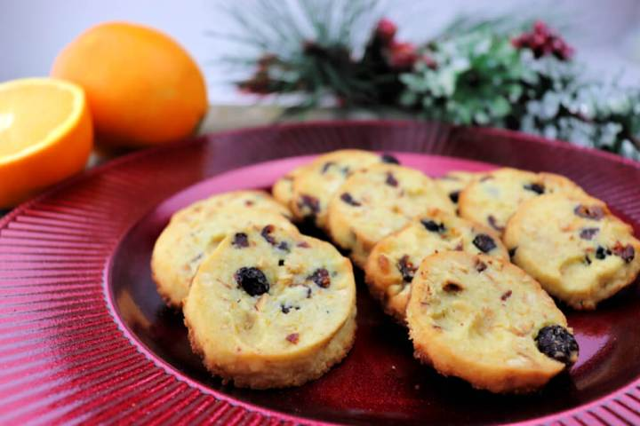 Keto Cranberry Orange Shortbread Cookies are packed with flavor and crisp. The ideal low carb holiday treat. #lowcarbcookies #ketodesserts