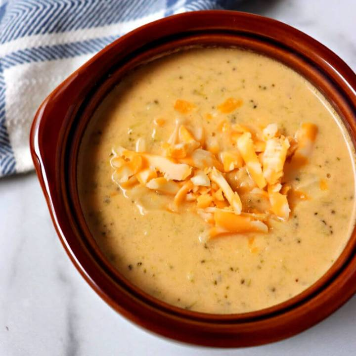 Keto broccoli cheese soup in a bowl #ketosouprecipes #ketorecipes #ketosoup