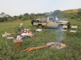 Fly camp on a grassy bank at Laikipia Wilderness