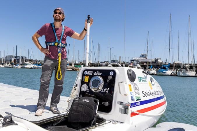 Cyril Derreumaux and his custom-made kayak named Valentine