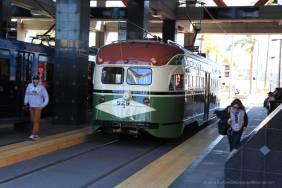 Vintage trolley departing