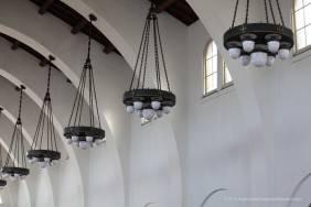 Bronze chandeliers in the waiting room
