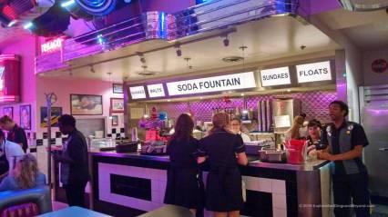 Soda fountain at Corvette Diner
