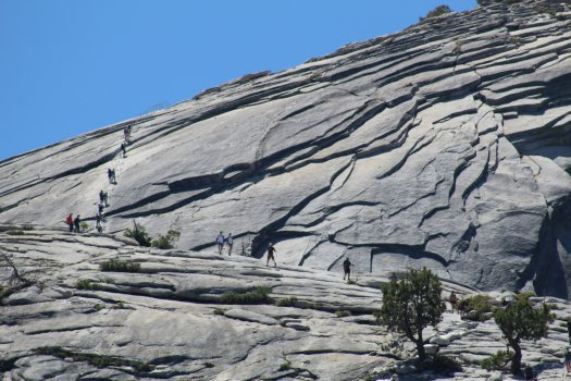 Hikers on the cables at Half Dome