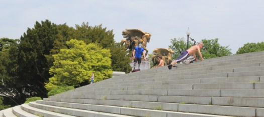 People exercising near the Lincoln Memorial - 4-29-2020