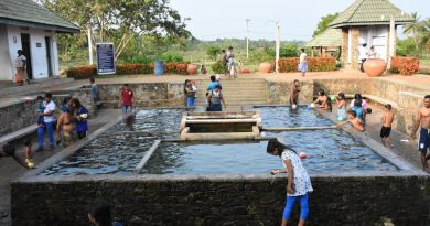 bathing at hot water spring