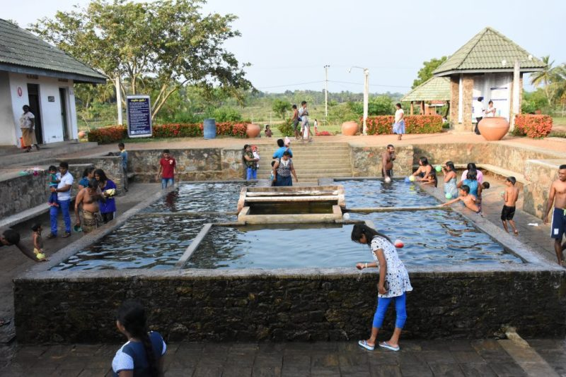 bathing at hot water spring