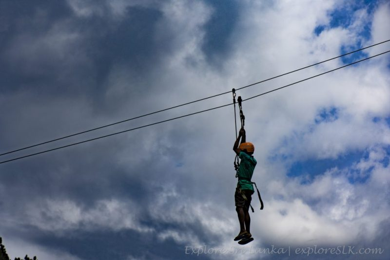 Zip lining at Sembuwatta Lake
