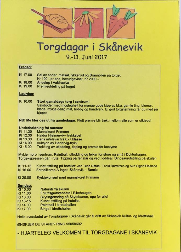 Program for torgdagane i Skånevik juni 2017