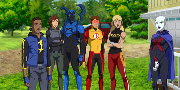 Young Justice - Static, Thirteen, Blue Beetle, Kid Flash, Wonder Girl and Miss Marrtian