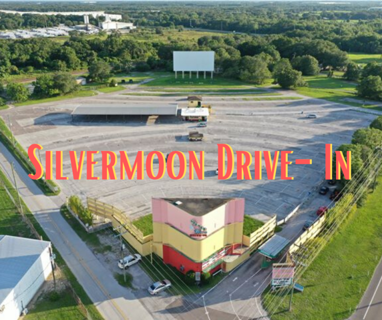 An aerial photo of a drive in theatre